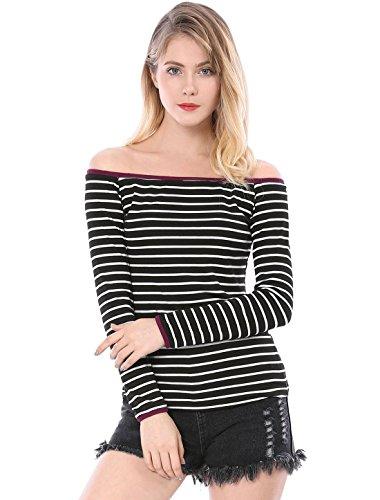 (Allegra K Women's Striped Contrast Color Trim Off Shoulder Top M Black)