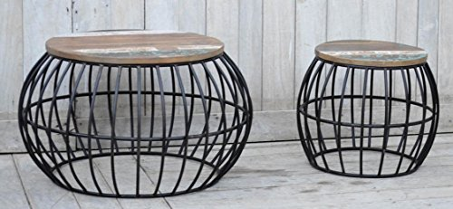 NACH vv-8004 Industrial style Iron Barrel cage Stool (Set of 2) by NACH