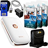 Photo : HP Sprocket Photo Printer, Print Social Media Photos on 2x3 Sticky-Backed Paper (White) + Photo Paper (70 sheets) + Protective Case + USB Cable with Wall Adapter + HeroFiber Gentle Cleaning Cloth