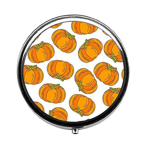 Pill Box 3 Times a Day,Halloween Pattern Pumpkin icon Travel Pill Case Round Pill Box with Mini Makeup Mirror Diameter 4.5 -