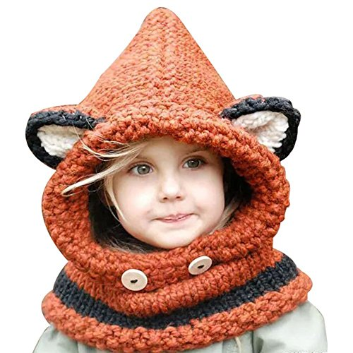 Knitted Check Scarf - Sunroyal Baby Kids Warm Winter Hat Crochet Knitted Caps Scarves Beanies-Orange