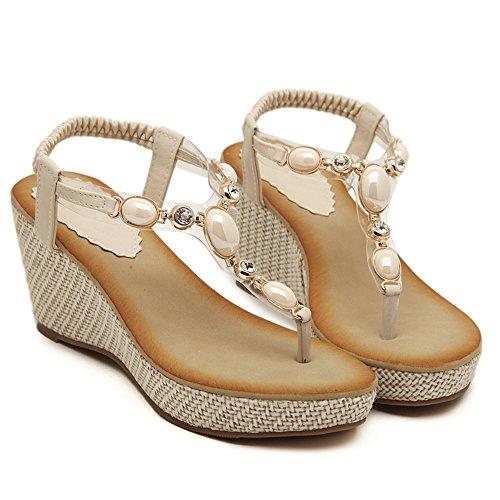 De las mujeres chancletas Zapatos de sandalia De hebilla de metal Rhinestones Bohemia estilos albaricoque