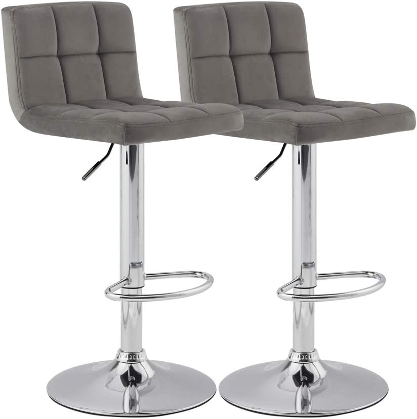 KYOTECH Modern Square Grey Flannel Adjustable Bar Stools with Backs, Set of 2, Counter Height Swivel Stool Grey
