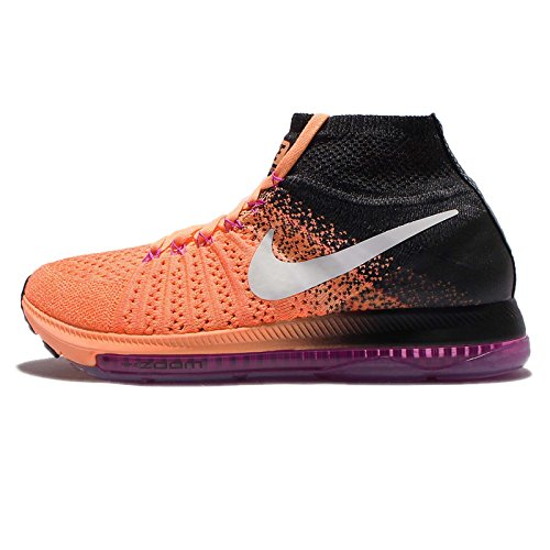 NIKE Women's Zoom All Out Flyknit Running Shoes (8, Peach Cream/White-Black) ()