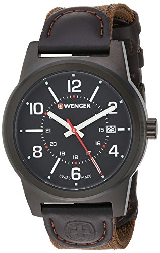 Wenger Men's 'Field Gear' Swiss Quartz Stainless Steel and Nylon Casual Watch, Color:Brown (Model: 01.0441.165)