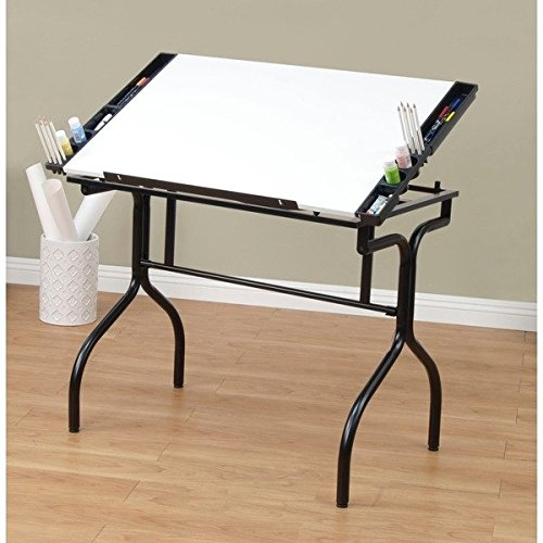 Studio Designs Black/White Foldable Drafting and Hobby Craft Station Table by Product Studio Designs