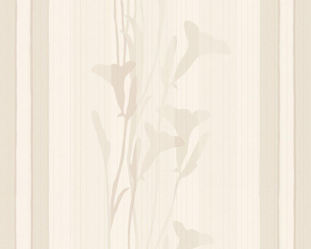 Caramello Simple Caramel Color Accent Striped Floral Wallpaper