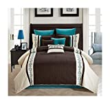 King Size Comforter Sets 110 X 96 All American Collection New 7 Piece Embroidered Over-Sized Comforter Set (King, Beige/Brown/Turquoise)