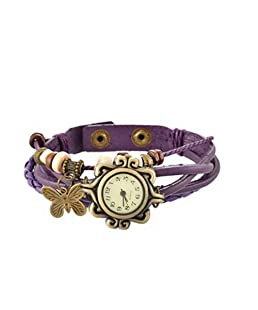 Loweryeah Girl Weave Butterfly Two Button Bracelet Watch 20.9cm
