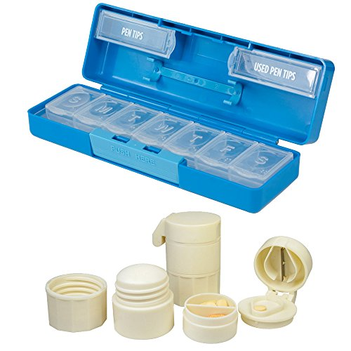 7 Day Insulin Pen Holder Pill Organizer with Cream Colored Pill Crusher/Splitter with Storage Compartments