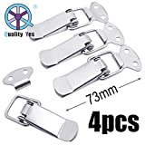 QY 4Set 73MM 304 Stainless Steel Cabinet Spring Loaded Toggle Clamps Box Clasp Buckle Trunk Catches Latch Hasp for DIY Chest Project