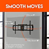 """ECHOGEAR Full Motion Articulating TV Wall Mount Bracket for most 37-70 inch LED, LCD, OLED and Plasma Flat Screen TVs w/ VESA patterns up to 600 x 400 - 16"""" Extension - EGLF1-BK"""