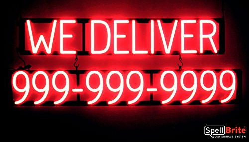 SpellBrite Ultra-Bright WE DELIVER 10 Digit Phone # Sign Neon-LED Sign (Neon look, LED performance)