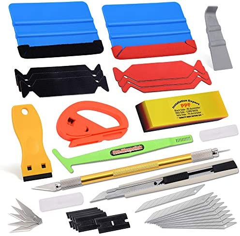 Vehicle Window Tint Film Install Vinyl Wrap Tool Kit comprises Felt Squeegee, PPF Scraper, Safety Cutter, Air Release Pin, Utility Knife & Blades Vinyl Applicator Wrap Tools for Car Wrapping Wallpaper