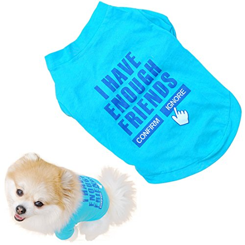 Voberry Pet Puppy Funny Cute Clothes Summer Cotton Quote Shirt Small Dog Cat Pet T Shirt (S)