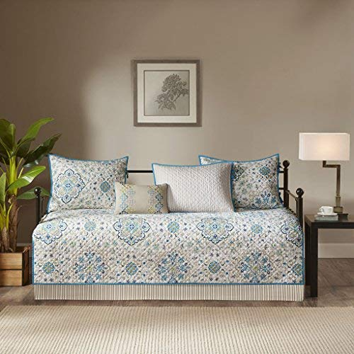 Madison Park Tissa Polyester Printed Daybed Set Teal 6 Piece