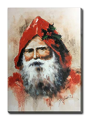 - Hongwu Hand-Painted Oil Painting Santa with Hood Canvas Wall Art Christmas Picture Stretched Ready to Hang for Home Wall Decor 20x28inch