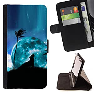 DEVIL CASE - FOR Samsung Galaxy A3 - Blue Moon Wolf Palm Tree Night Sky Art - Style PU Leather Case Wallet Flip Stand Flap Closure Cover