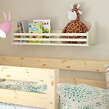 Wooden Bunk Bed Shelf Bookcase And Bedside Storage For Childrenu0027s Kids Room  (Natural Wood)