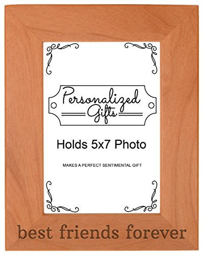 ThisWear Best Friends Forever Gift Besties BFF Gift Natural Wood Engraved 5x7 Portrait Picture Frame Wood