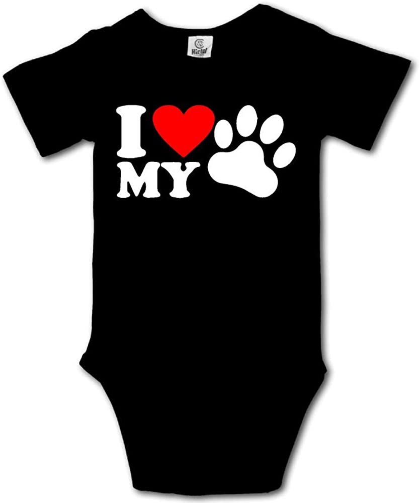 B07G6GJXHK I Love My Dog-1 Printed Baby Girls Short Sleeve Bodysuits Coverall Jumpsuit 51XkcmUMC0L