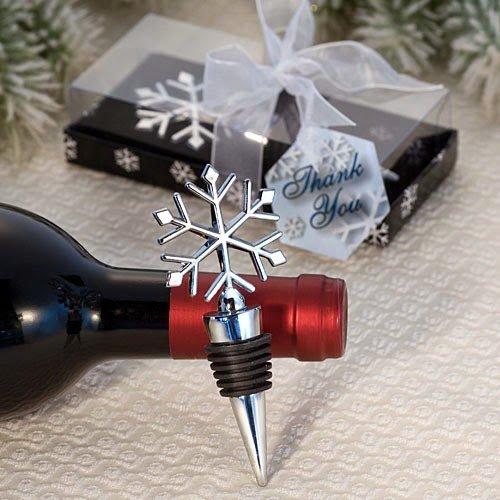 20 Elegant Snowflake Design Wine Bottle Stopper Favors ()