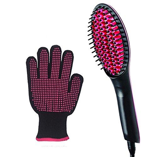 Beauty Nymph Glätteisen Haarglätter Bürste Glättungbürste Keramik LCD Bürste für Lange und kurz Haare Haarpflege und Keramik-Massage Haar
