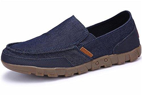 WUIWUIYU Homme Chaussures en Toile Bateau Espadrilles Tennis Mocassins Bleu 2VE0m