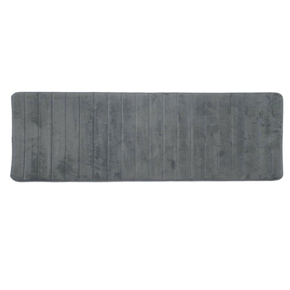 Passatoia bagno doccia tappeto lungo morbido Lavabile antiscivolo scendibagno in memory foam, cuscino 60x 160cm, Grey, Taglia libera FAVOLOOK
