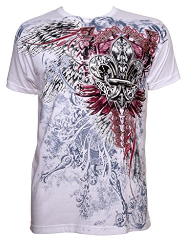 Konflic Men's Men's Cross with Wings Graphic Designer MMA Muscle T-shirt White XL White
