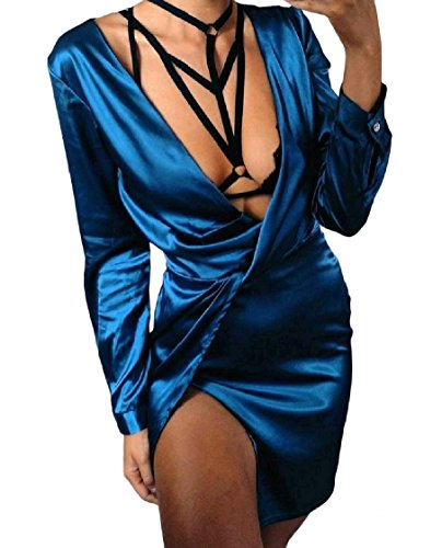 Charmeuse Manches Longues Sexy Cocktail Clubwear De Bleu Robe Des Femmes Coolred