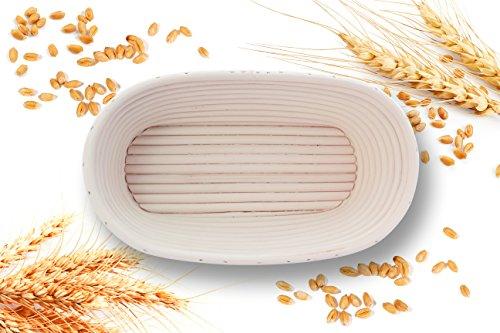 Handgefertigtes Gärkörbchen für Brot bis zu 750g, oval-länglich, aus 100% natürlichem Peddigrohr (Rattan), Brot-Gärkorb, Brotform geeignet für Thermomix-Rezepte, Brotbackzubehör zum Brot backen im Brotkorb
