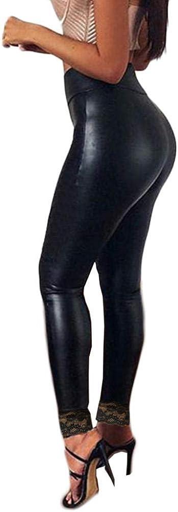 SJHJA Pantalones Deportivos Mujer Señoras imitación Leggings sin Costuras de Cuero Pantalones con Cordones Nalgas y Pantalones Delgados de Nueve Minutos