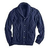 West End Knitwear Men's Aran Shawl Collar Cable Knit Cardigan Sweater - Navy - XL