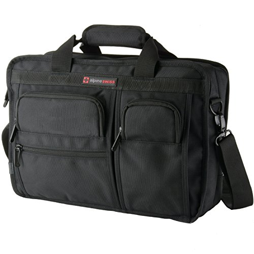 Alpine Swiss Conrad Messenger Bag 15.6 Inch Laptop Briefcase with Tablet Sleeve Black ()