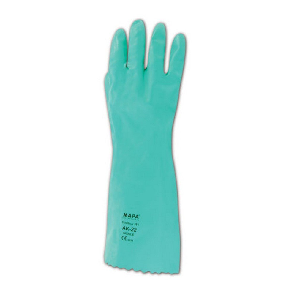 MAPA Stansolv AK-22 Nitrile Mediumweight Glove, Chemical Resistant, 0.033'' Thickness, 14'' Length, Size 7, Green (Bag of 12 Pairs)