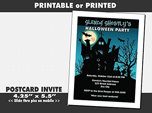 (Haunted House Halloween Party Invitation Design 3, Printable or Printed)