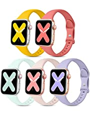 EOMTAM 5 Pack Sport Slim Bands Compatible with Apple Watch Bands 38mm 40mm 41mm 42mm 44mm 45mm Women Men,Thin Silicone Soft Replacement Strap Wristband for iWatch Series 7 6 5 4 3 2 1 SE