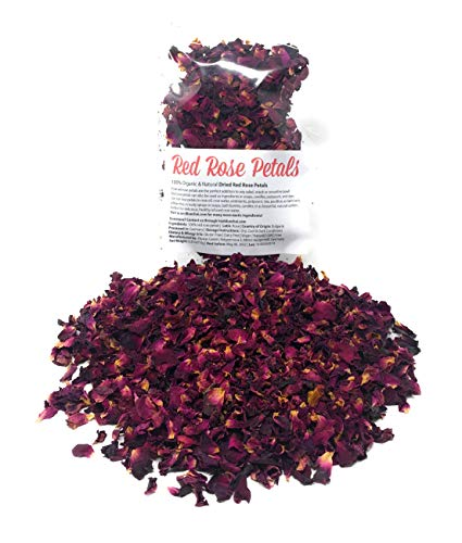 Red Rose Petals - Pure, edible & organic | Net weight: 0.35oz/10g | Perfect addition to any salad, snack or smoothie bowl, hydrosol creating and DIY body care products, sprinkles for bath/decoration
