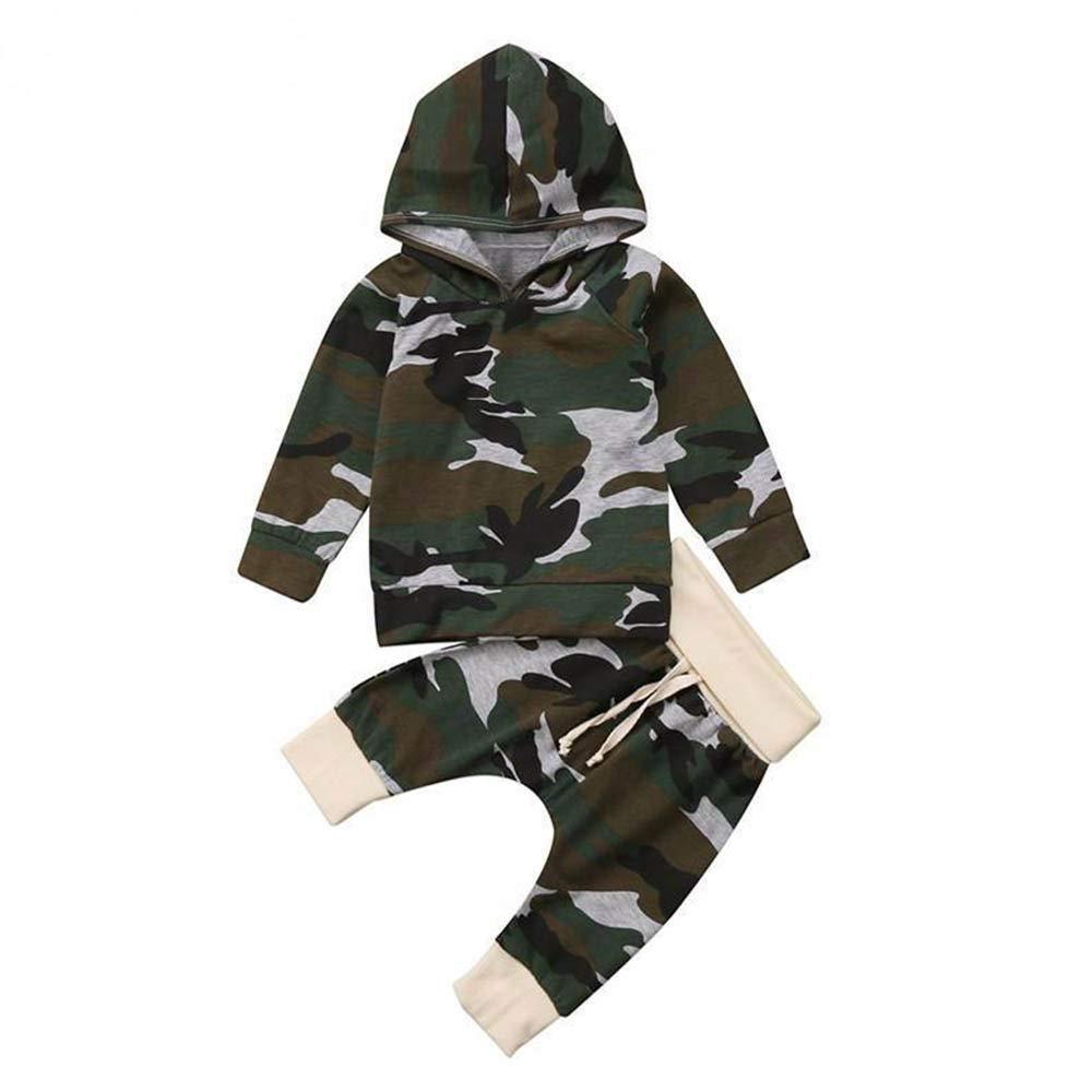 Toddler Infant Neonate Set da Bambino con Cappuccio e Tuta Mimetica, YanHoo(6-24M) Set Mimetico a Mosaico Manica Lunga con Cappuccio