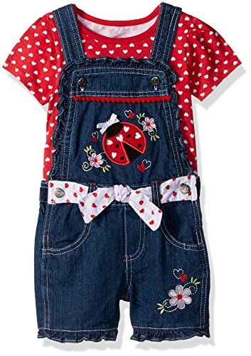 Nannette Toddler Girls' 2 Piece Denim Shortall with Heart Applique and Top with Flutter Lace Sleeves, Blue, 2T
