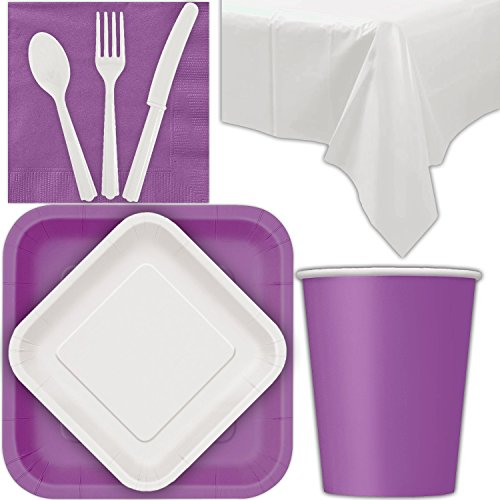 - Disposable Party Supplies for 28 Guests - Pretty Purple and Bright White - Square Dinner Plates, Square Dessert Plates, Cups, Lunch Napkins, Cutlery, and Tablecloths: Premium Quality Tableware Set