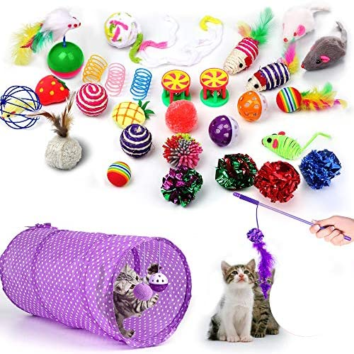 30 Piezas Set de Juguetes para Gatos Variedad Catnip Toy Set Kitten Toys Surtidos que incluyen Tunel Gato Pelota Gato Cat Teaser Mice Wand Feather Toys Cat Balls Jingle Bell Interactive Juguete gato Set para Gato 2
