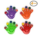 Emraw Assorted 5 Colors Washable Non-Toxic Finger Paint with Hand Shaped Mixing Tray Art Craft Tool 5ml - Colors Included: Red, Purple, Orange & Green - for School & Home(Pack of 4)