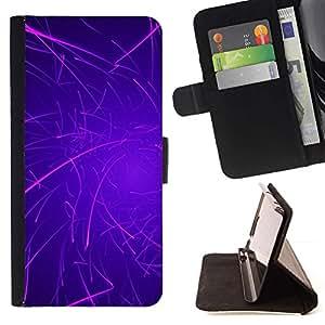 Momo Phone Case / Flip Funda de Cuero Case Cover - Púrpura Líneas Rave palillo del resplandor - Samsung Galaxy J1 J100