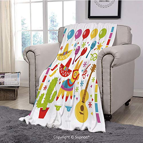 BeeMeng Printing Blanket Coral Plush Super Soft Decorative Throw Blanket,Fiesta,Mexican Party Pattern Cactus Sombrero Musical Items and a Pinata Ethnic Inspirations,Multicolor(59