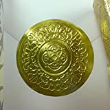 2'' Round Gold Medallion Embossed Foil Seal Stickers, Medallion Holiday Seal - 50 pcs