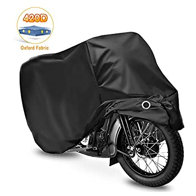 WDLHQC Motorcycle Cover,420D Oxford Fabric All Season Waterproof Outdoor Protection,Precision Fit for 108 inch Motors,Choppers and Cruisers - Protect Against Dust,Debris,Rain and Weather(Black)