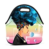 Neoprene Lunch Bag - African American Blue Hair Natural Africa Lunch Tote Bags for Women & Girls - Lunch Boxes for Kids & Adult Lunch Box