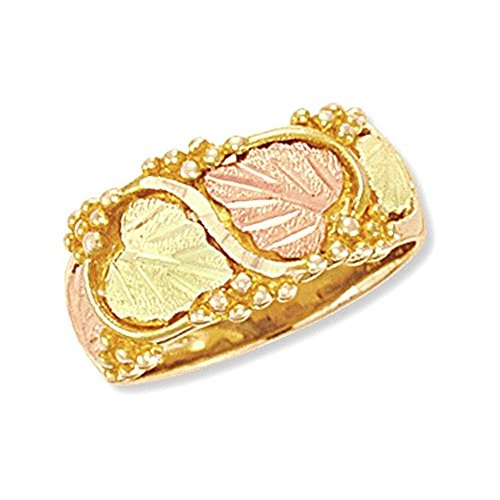 Women's Diamond-Cut Wedding Ring, 10k Yellow Gold, 12k Green and Rose Gold Black Hills Gold Motif, Size 9
